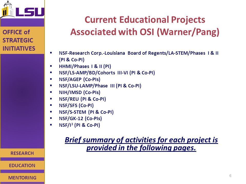 RESEARCH EDUCATION MENTORING OFFICE of STRATEGIC INITIATIVES Current Educational Projects Associated with OSI (Warner/Pang)  NSF-Research Corp.-Louisiana Board of Regents/LA-STEM/Phases I & II (PI & Co-PI)  HHMI/Phases I & II (PI)  NSF/LS-AMP/BD/Cohorts III-VI (PI & Co-PI)  NSF/AGEP (Co-PIs)  NSF/LSU-LAMP/Phase III (PI & Co-PI)  NIH/IMSD (Co-PIs)  NSF/REU (PI & Co-PI)  NSF/SFS (Co-PI)  NSF/S-STEM (PI & Co-PI)  NSF/GK-12 (Co-PIs)  NSF/I 3 (PI & Co-PI) Brief summary of activities for each project is provided in the following pages.