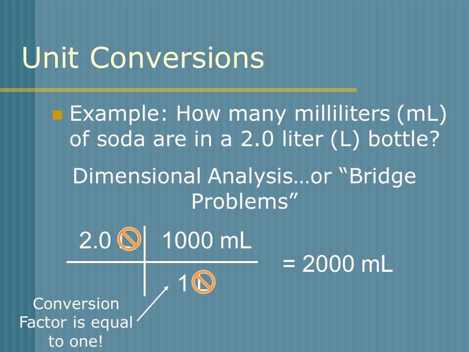 Unit Conversions Example: How many milliliters (mL) of soda are in a 2.0 liter (L) bottle.