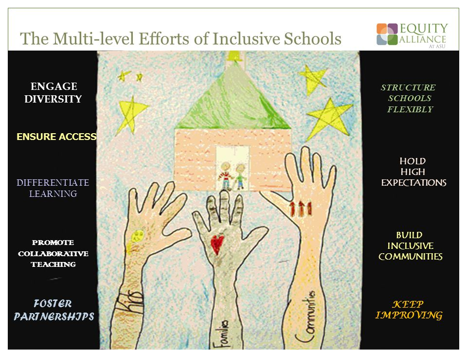 The Multi-level Efforts of Inclusive Schools ENGAGEDIVERSITY ENSURE ACCESS DIFFERENTIATE LEARNING PROMOTE COLLABORATIVE TEACHING FOSTER PARTNERSHIPS STRUCTURE SCHOOLS SCHOOLS FLEXIBLY FLEXIBLY HOLD HIGH EXPECTATIONS KEEP IMPROVING BUILD INCLUSIVE INCLUSIVE COMMUNITIES COMMUNITIES