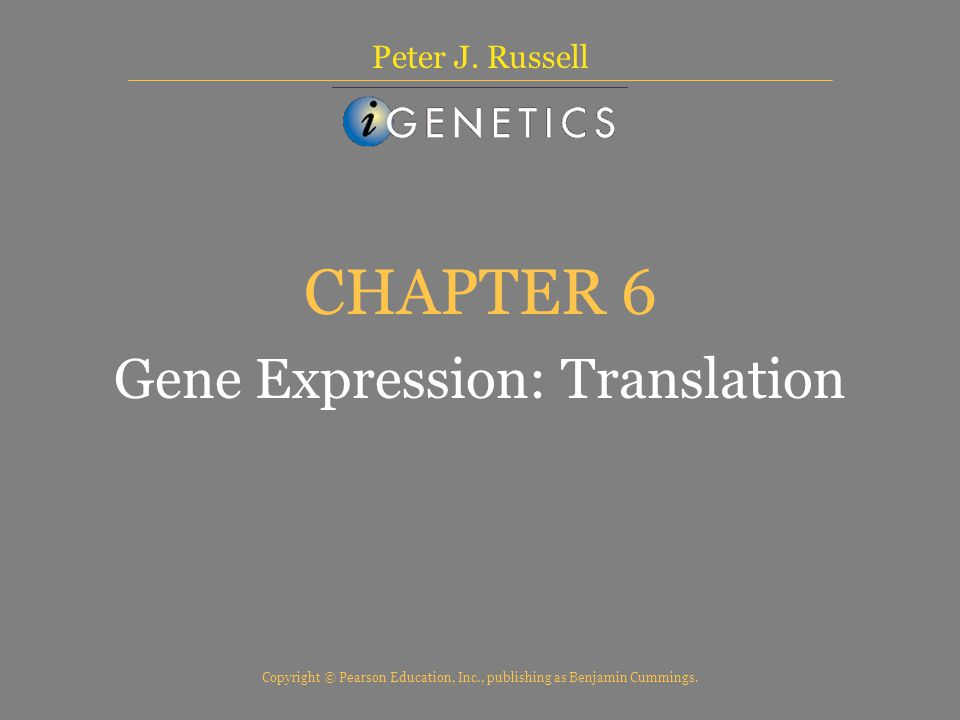 Copyright © Pearson Education, Inc., publishing as Benjamin Cummings. CHAPTER 6 Gene Expression: Translation Peter J. Russell