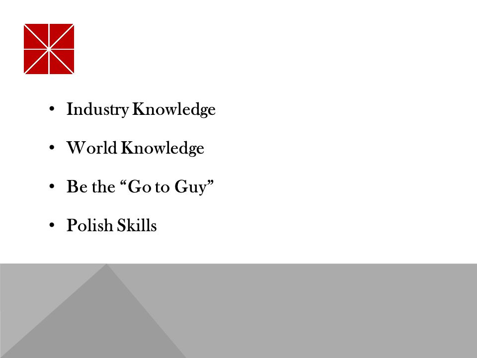 Industry Knowledge World Knowledge Be the Go to Guy Polish Skills