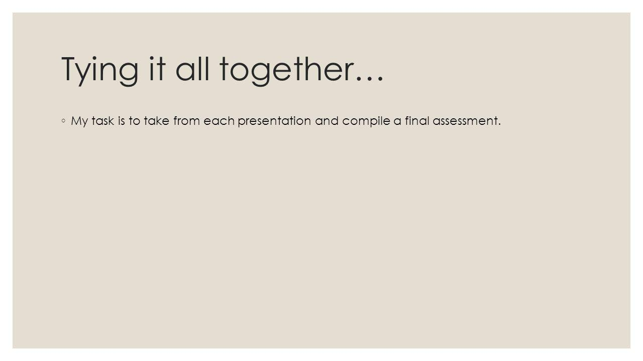 Tying it all together… ◦ My task is to take from each presentation and compile a final assessment.