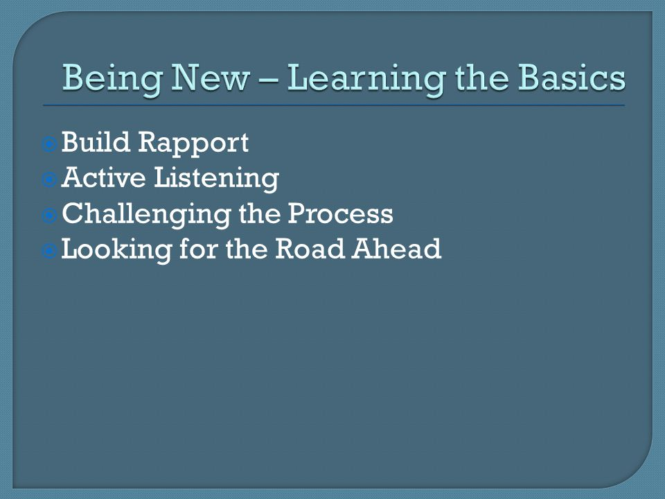  Build Rapport  Active Listening  Challenging the Process  Looking for the Road Ahead