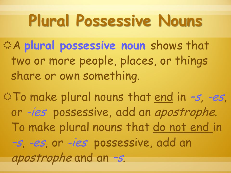 Plural Possessive Nouns  A plural possessive noun shows that two or more people, places, or things share or own something.
