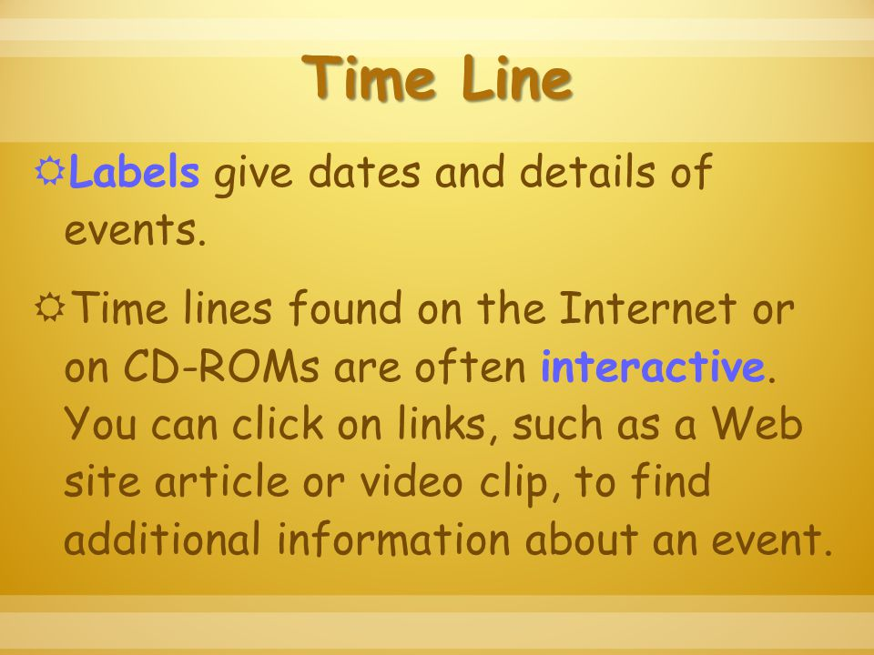 Time Line  Labels give dates and details of events.
