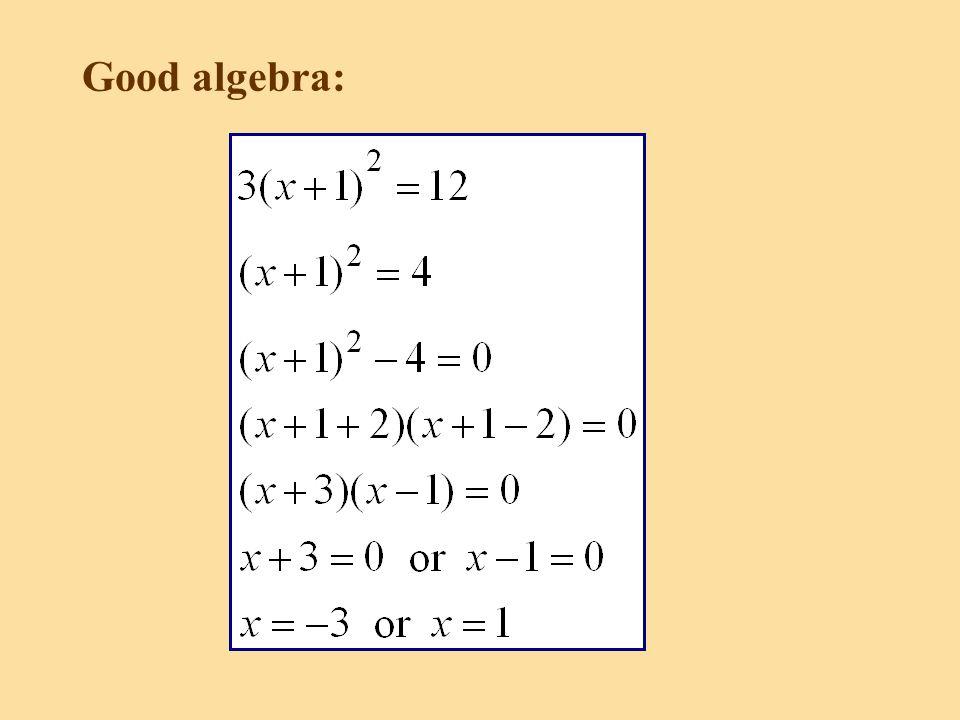 Good algebra: