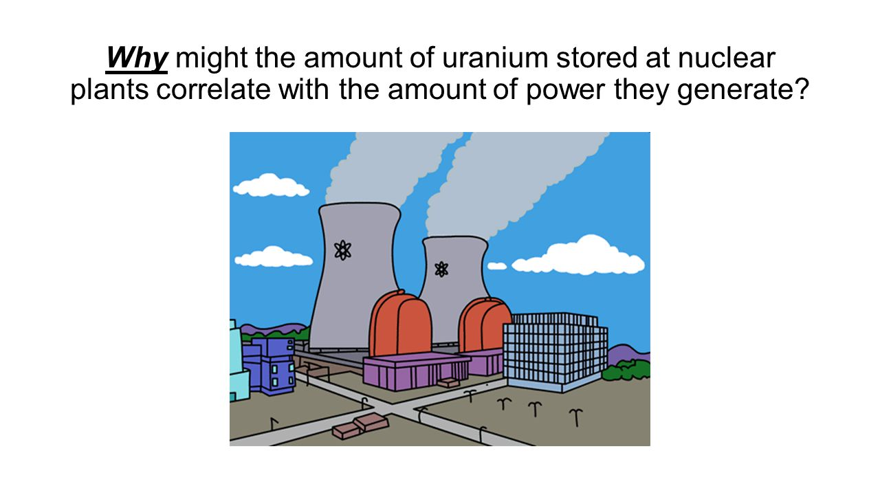 Why might the amount of uranium stored at nuclear plants correlate with the amount of power they generate