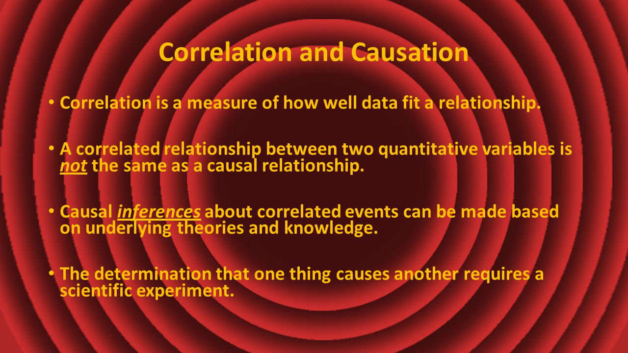 Correlation and Causation Correlation is a measure of how well data fit a relationship.