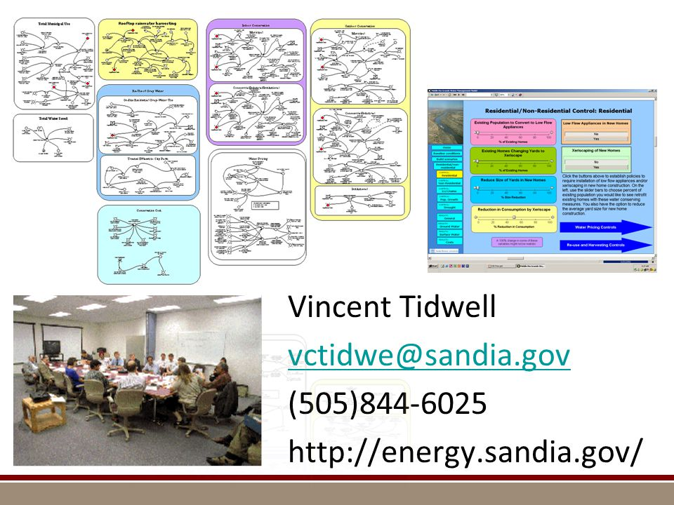 Vincent Tidwell vctidwe@sandia.gov (505)844-6025 http://energy.sandia.gov/