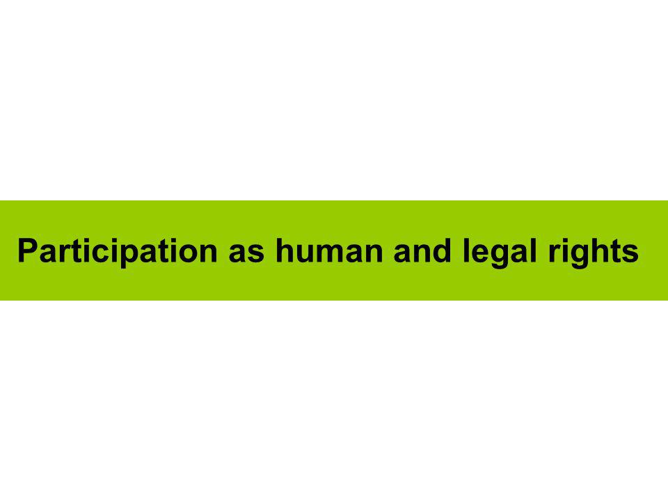 Participation as human and legal rights