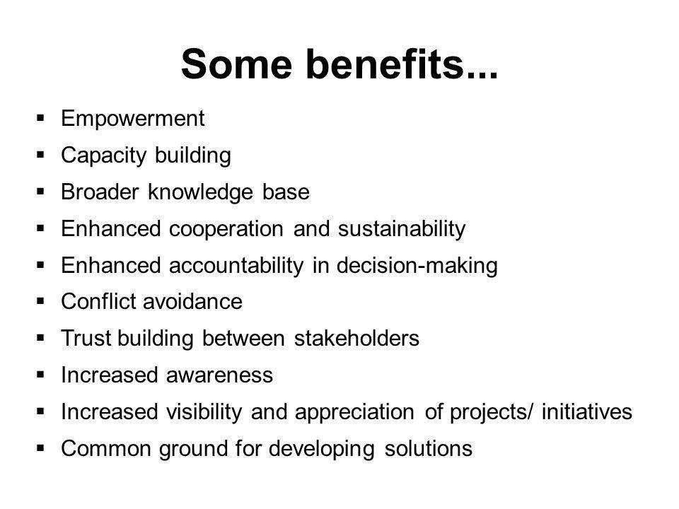 Some benefits...