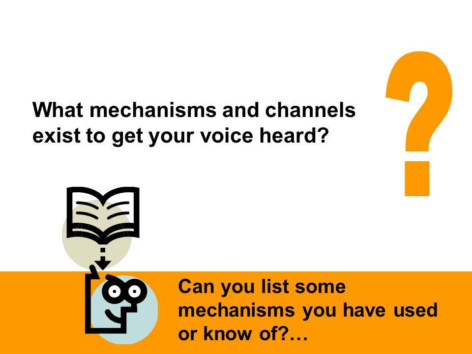 Can you list some mechanisms you have used or know of?… What mechanisms and channels exist to get your voice heard?