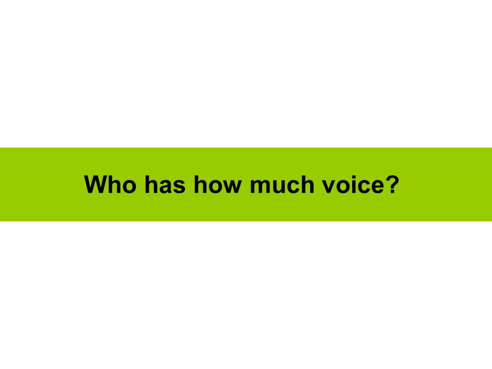Who has how much voice?