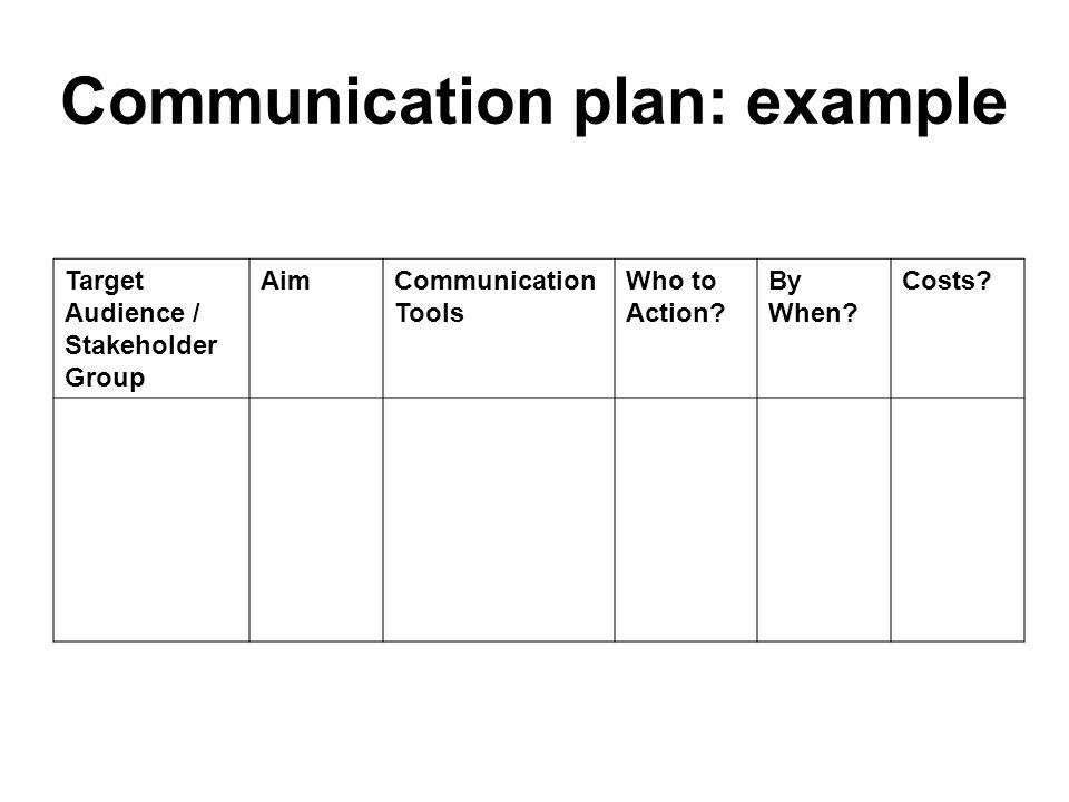 Communication plan: example Target Audience / Stakeholder Group AimCommunication Tools Who to Action? By When? Costs?