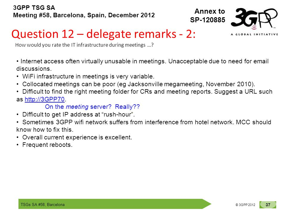 TSGs SA #58, Barcelona 37 © 3GPP 2012 Annex to SP-120885 3GPP TSG SA Meeting #58, Barcelona, Spain, December 2012 Question 12 – delegate remarks - 2: How would you rate the IT infrastructure during meetings ….