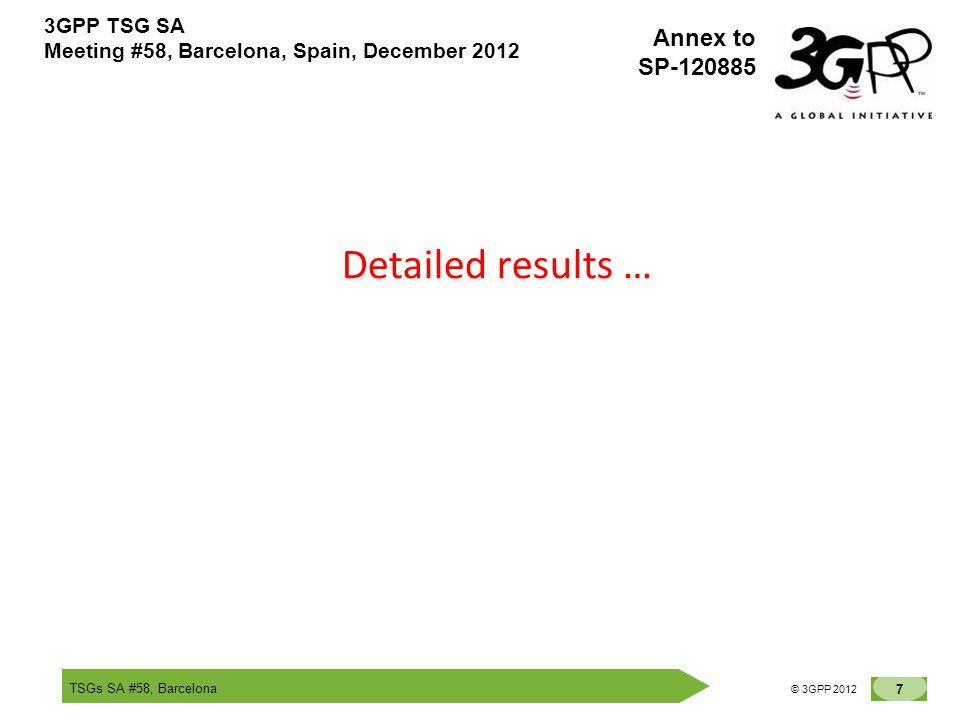 TSGs SA #58, Barcelona 7 © 3GPP 2012 Annex to SP-120885 3GPP TSG SA Meeting #58, Barcelona, Spain, December 2012 Detailed results …