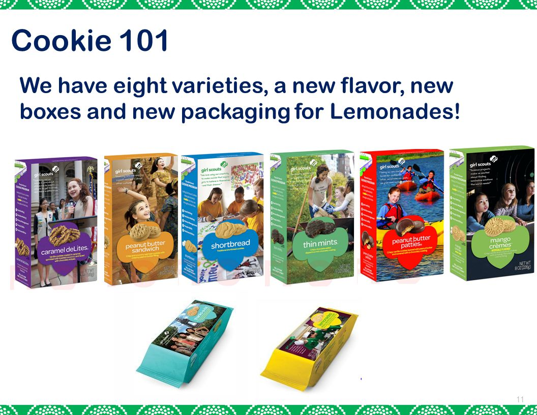 11 Cookie 101 We have eight varieties, a new flavor, new boxes and new packaging for Lemonades!