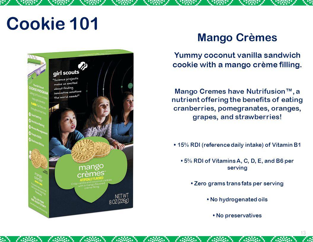 13 Cookie 101 Mango Crèmes Yummy coconut vanilla sandwich cookie with a mango crème filling.