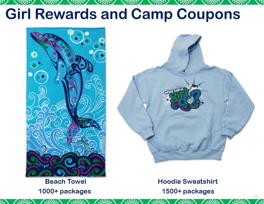 Girl Rewards and Camp Coupons 24 Beach Towel Hoodie Sweatshirt 1000+ packages 1500+ packages