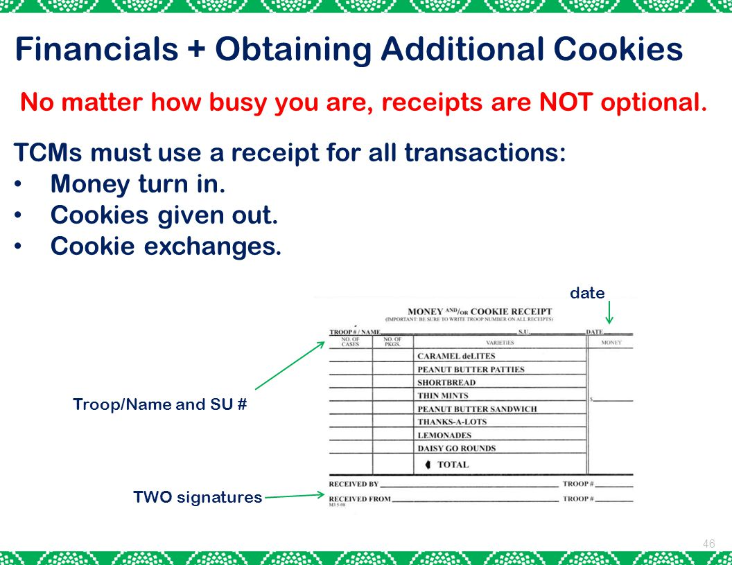 46 Financials + Obtaining Additional Cookies No matter how busy you are, receipts are NOT optional.