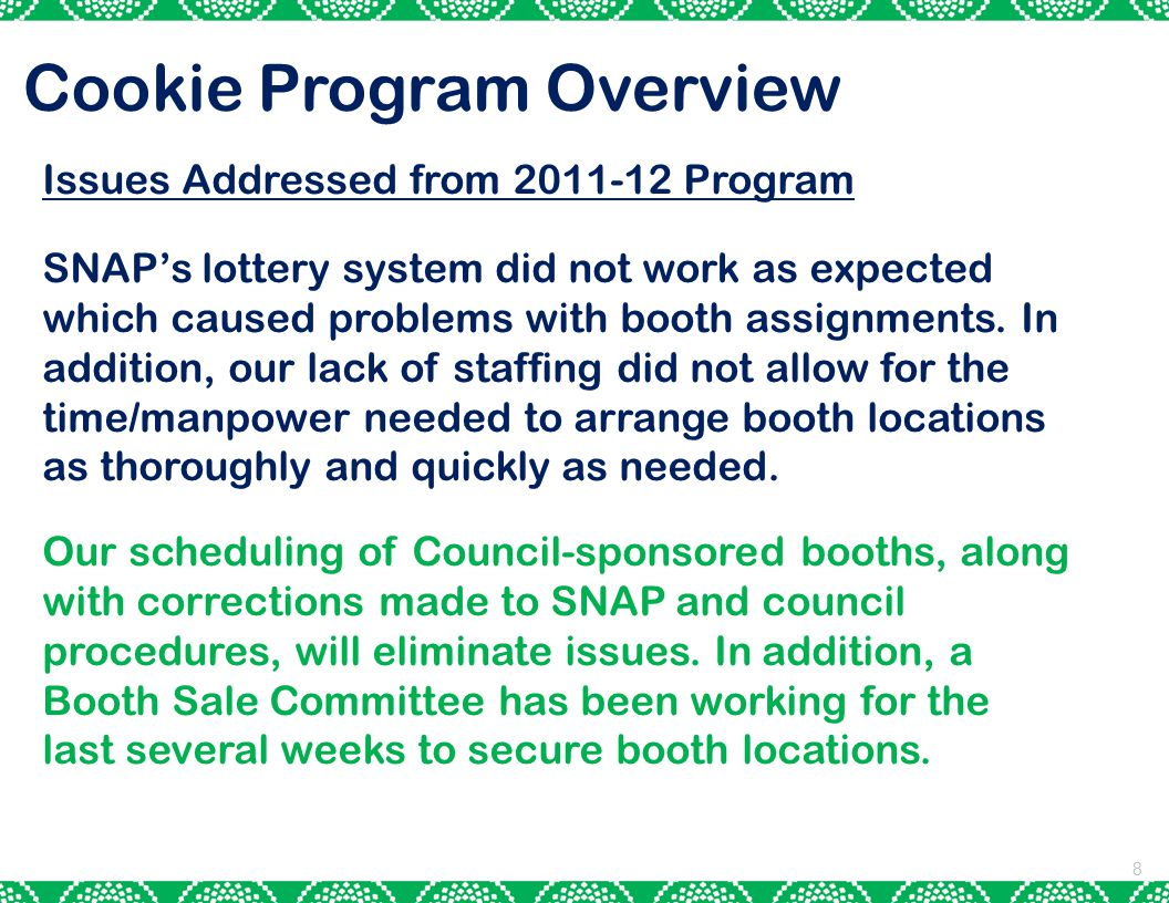 8 Cookie Program Overview Issues Addressed from 2011-12 Program SNAP's lottery system did not work as expected which caused problems with booth assignments.