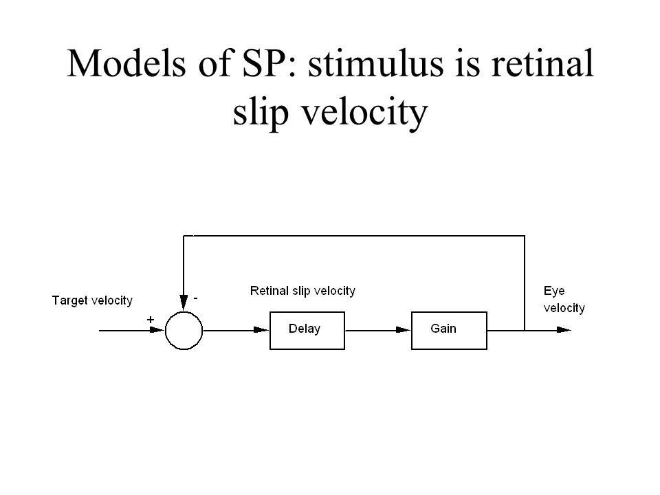 Retinal slip velocity RSV = target velocity - eye velocity Gain = eye velocity/target velocity –Usually, the eye doesn't move as fast as the target gain of the response is less than 1.0 we make a saccade to catch up –If our eyes move faster than the target, the gain is greater than 1.0 we make a saccade in the direction opposite to the target's direction