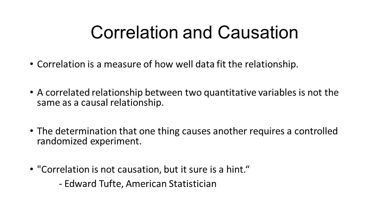 Correlation and Causation Correlation is a measure of how well data fit the relationship.