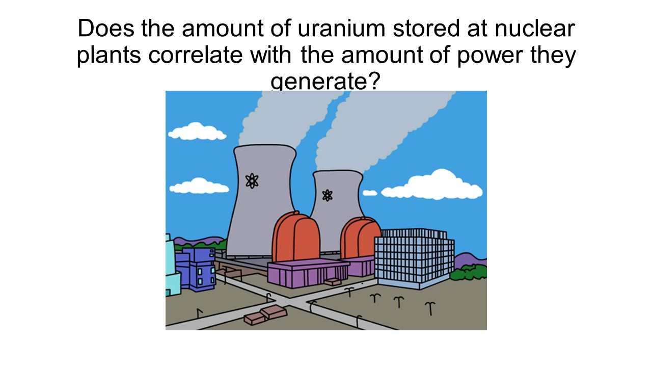 Does the amount of uranium stored at nuclear plants correlate with the amount of power they generate