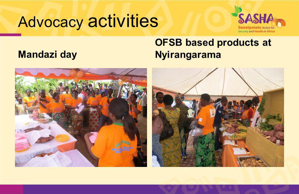 Advocacy activities Mandazi day OFSB based products at Nyirangarama