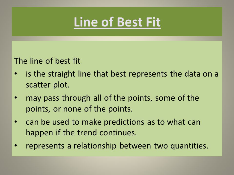 Line of Best Fit The line of best fit is the straight line that best represents the data on a scatter plot.