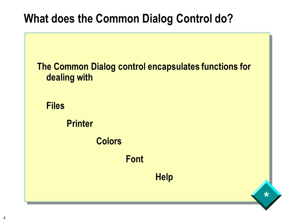 * 4 What does the Common Dialog Control do.