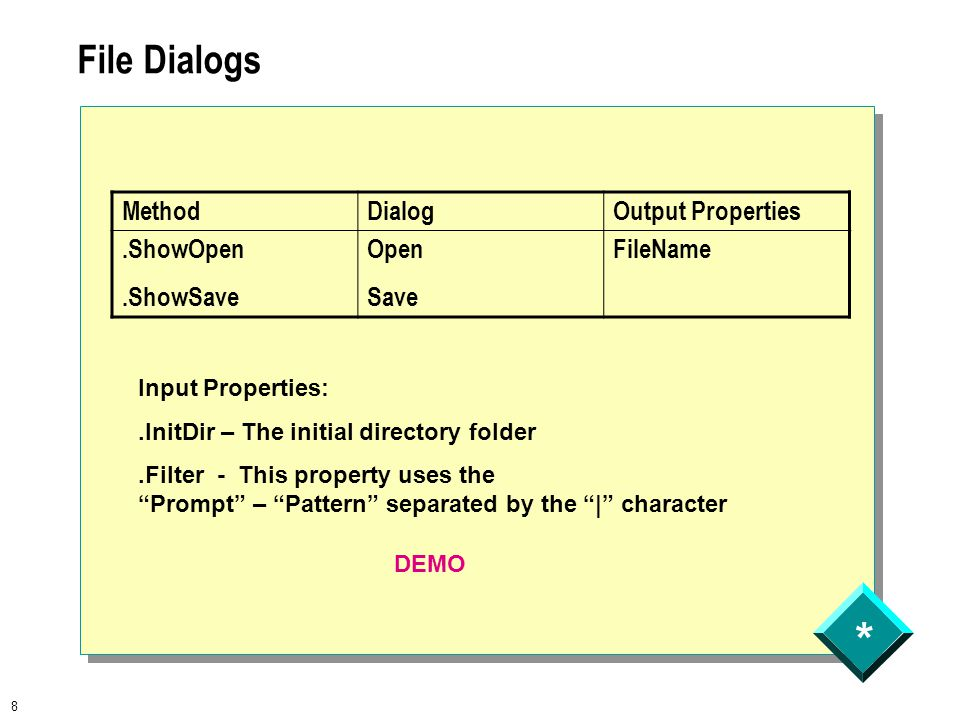 * 8 File Dialogs MethodDialogOutput Properties.ShowOpen.ShowSave Open Save FileName Input Properties:.InitDir – The initial directory folder.Filter - This property uses the Prompt – Pattern separated by the | character DEMO