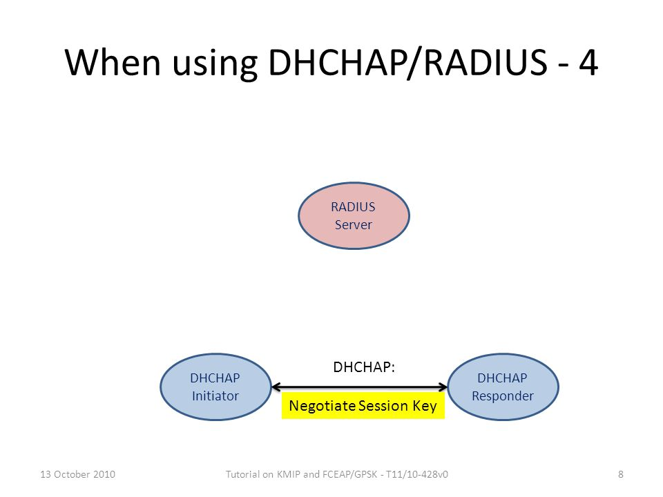 When using DHCHAP/RADIUS - 4 DHCHAP Initiator RADIUS Server DHCHAP Responder Negotiate Session Key DHCHAP: 13 October 20108Tutorial on KMIP and FCEAP/