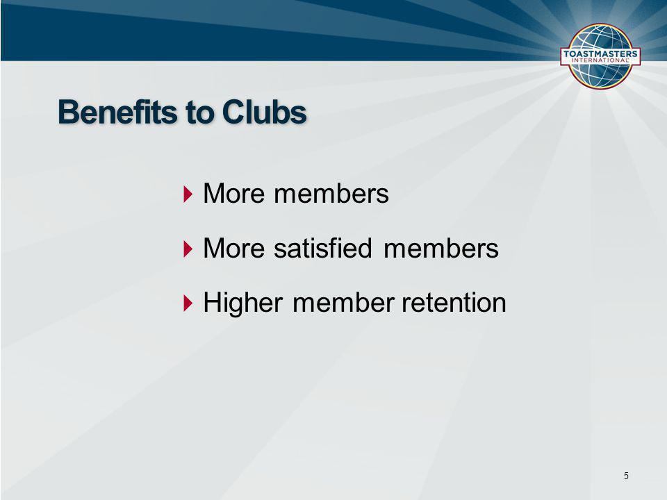  More members  More satisfied members  Higher member retention 5 Benefits to Clubs