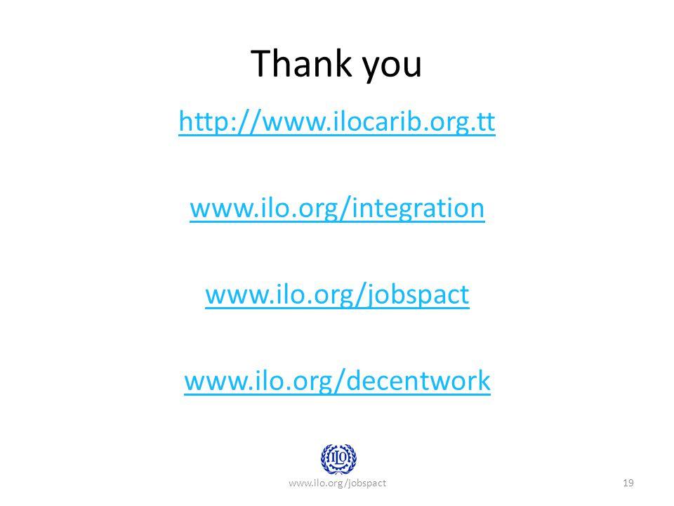 Thank you http://www.ilocarib.org.tt www.ilo.org/integration www.ilo.org/jobspact www.ilo.org/decentwork www.ilo.org/jobspact19