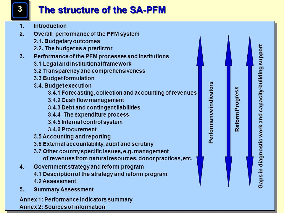 Page 16 The structure of the SA-PFM 3 1.Introduction 2.Overall performance of the PFM system 2.1. Budgetary outcomes 2.2. The budget as a predictor 3.