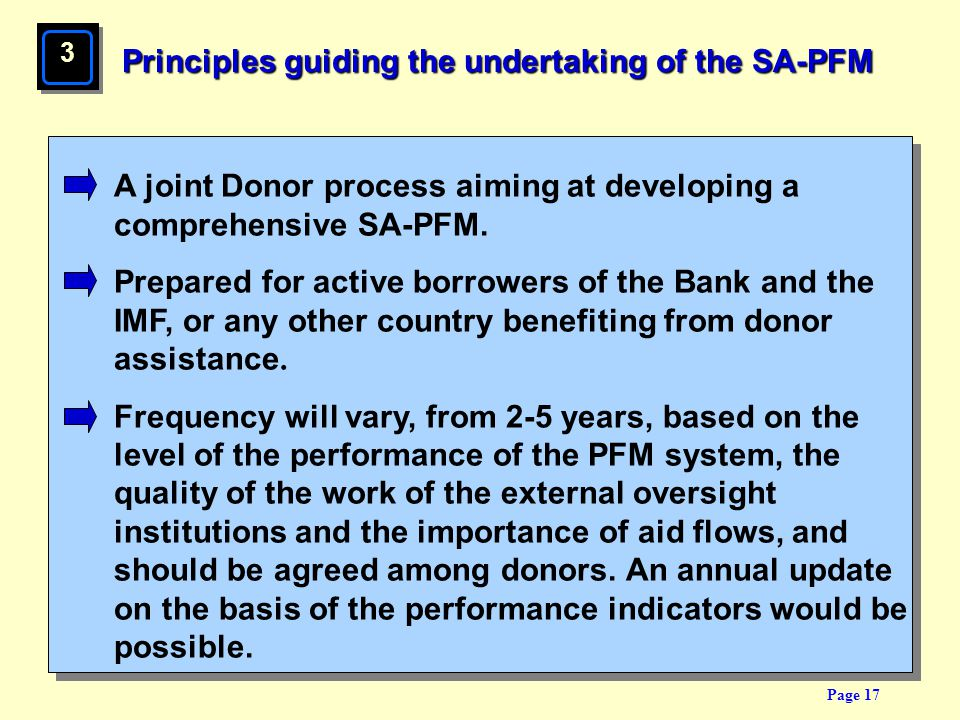 Page 17 Principles guiding the undertaking of the SA-PFM A joint Donor process aiming at developing a comprehensive SA-PFM. Prepared for active borrow