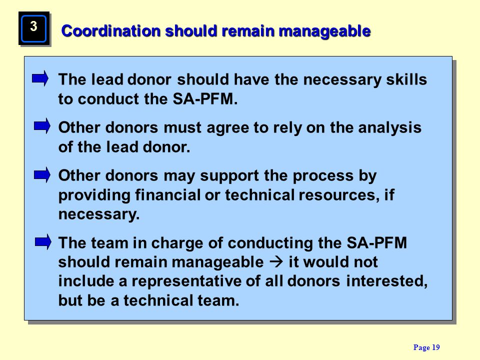 Page 19 Coordination should remain manageable The lead donor should have the necessary skills to conduct the SA-PFM. Other donors must agree to rely o