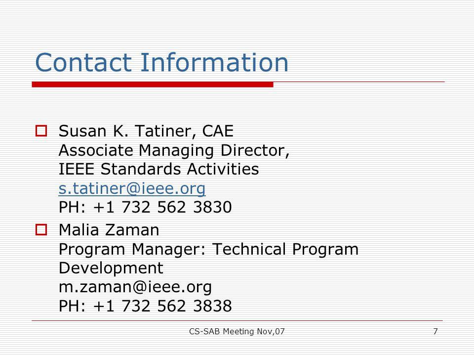 CS-SAB Meeting Nov,077 Contact Information  Susan K.