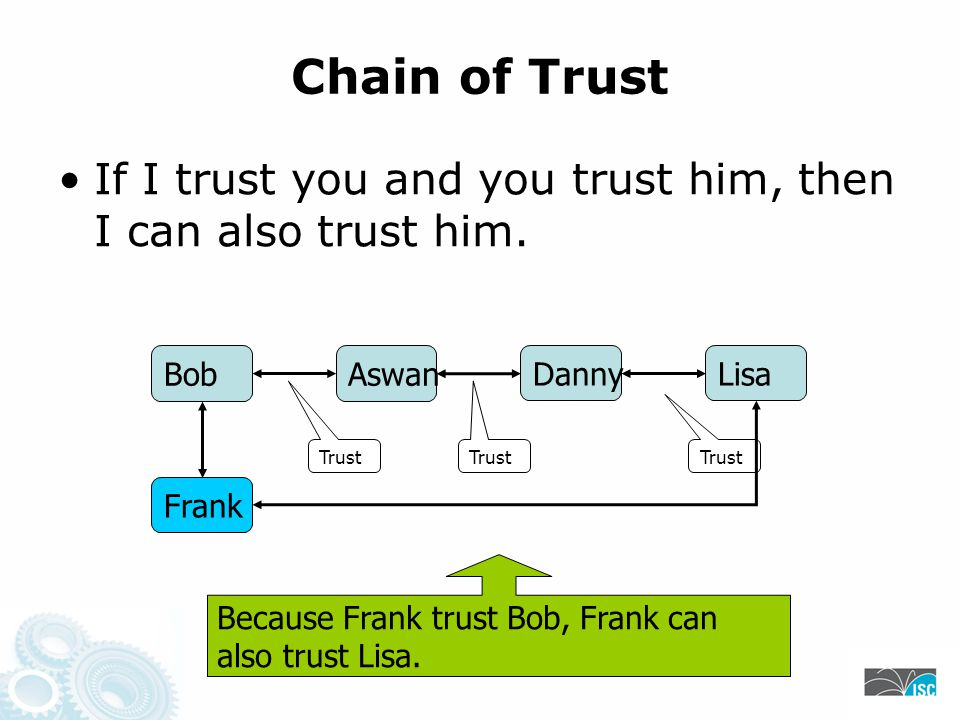 Chain of Trust If I trust you and you trust him, then I can also trust him.