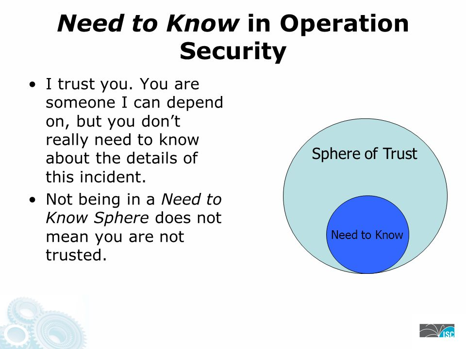 Need to Know in Operation Security I trust you.