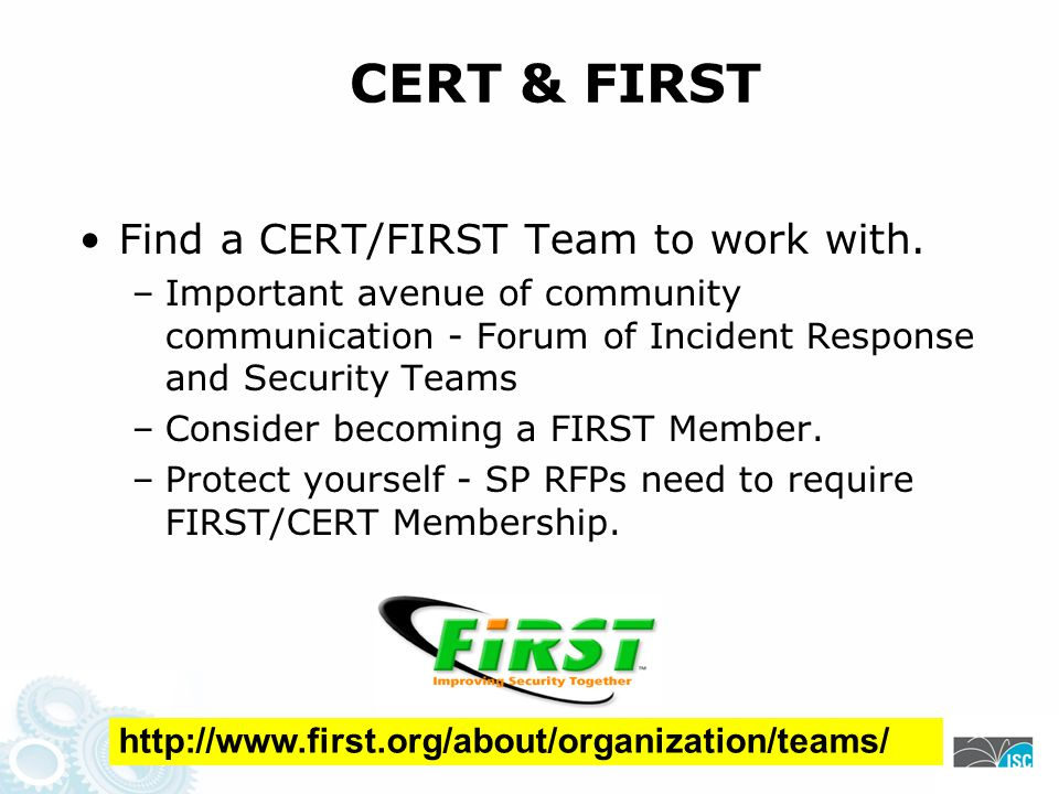 CERT & FIRST Find a CERT/FIRST Team to work with.