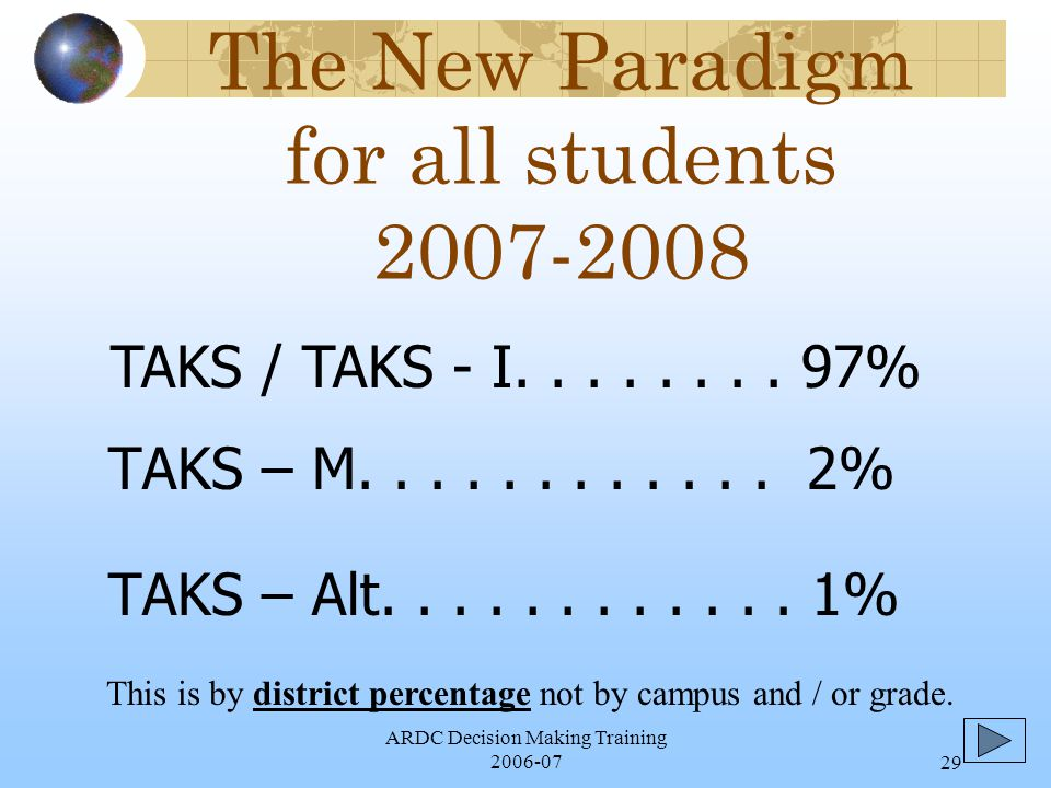 ARDC Decision Making Training 2006-0729 The New Paradigm for all students 2007-2008 TAKS – M............