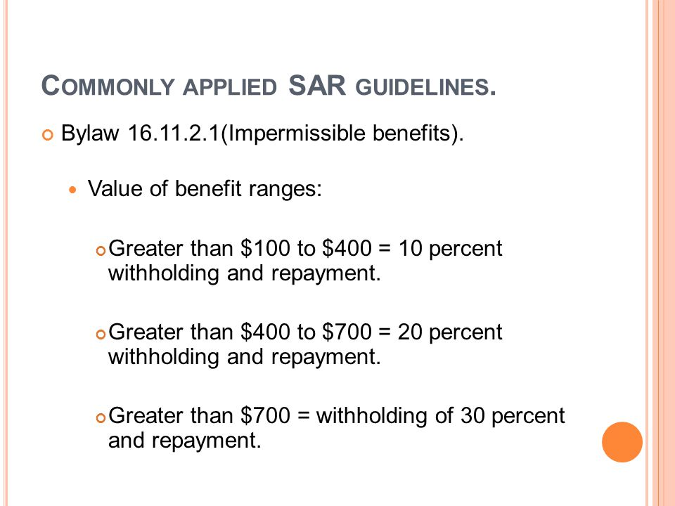 C OMMONLY APPLIED SAR GUIDELINES. Bylaw 16.11.2.1(Impermissible benefits).