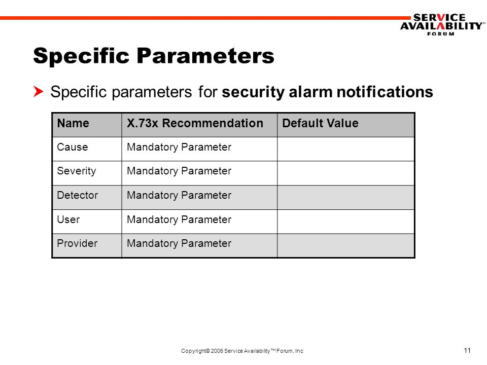 Copyright© 2006 Service Availability™ Forum, Inc 11 Specific Parameters  Specific parameters for security alarm notifications NameX.73x RecommendationDefault Value CauseMandatory Parameter SeverityMandatory Parameter DetectorMandatory Parameter UserMandatory Parameter ProviderMandatory Parameter