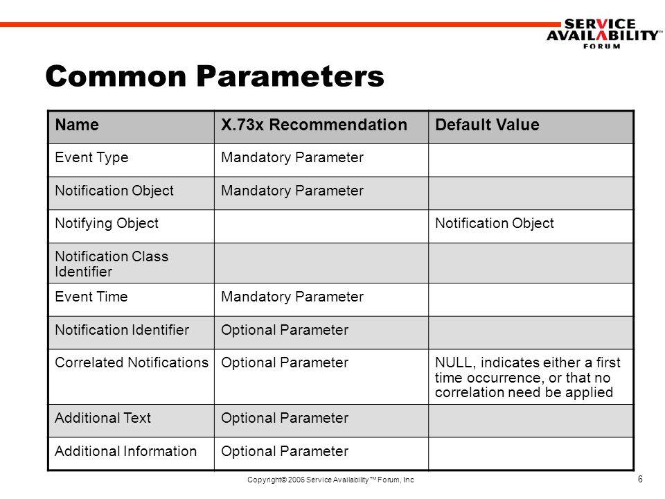 Copyright© 2006 Service Availability™ Forum, Inc 6 Common Parameters NameX.73x RecommendationDefault Value Event TypeMandatory Parameter Notification