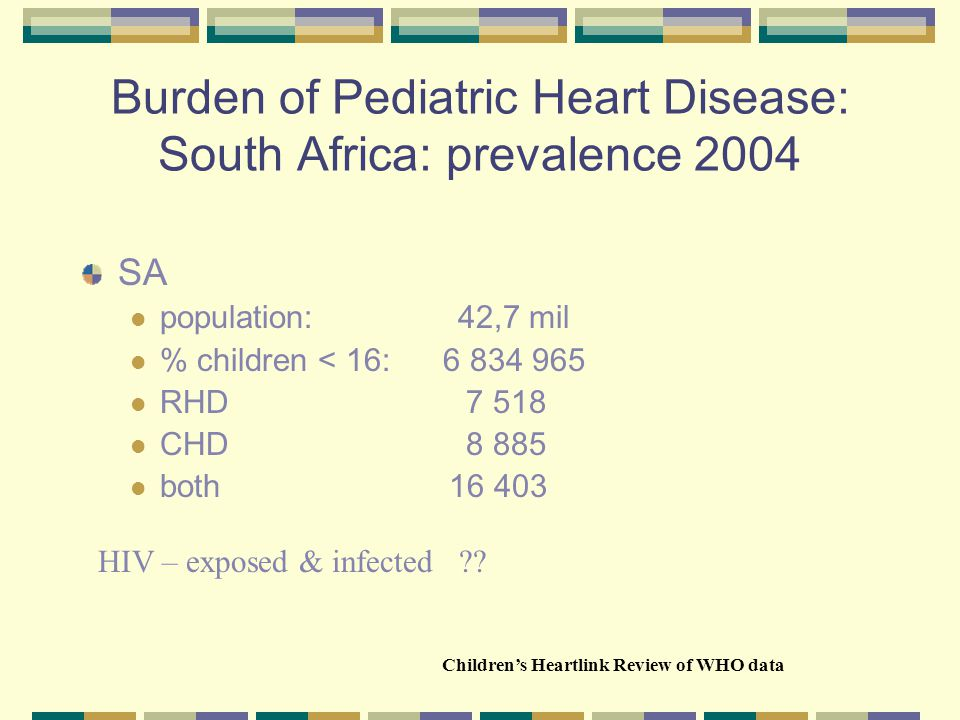 Key causes of Pediatric Heart disease in developing countries poverty and environmental risks drive poor nutrition and genetic weakness infectious diseases: rheumatic, TB, viral during pregnancy poor maternal and pharma care poor infant care obesity and inactivity (Children's Heartlink Global Web survey, July 2004)