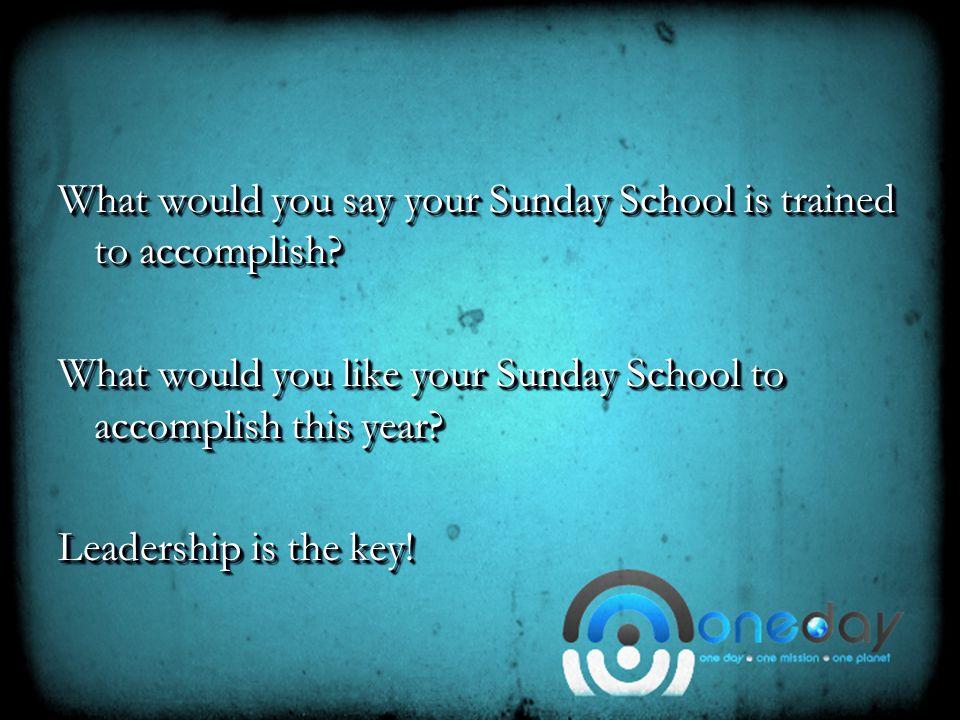 LeadershipLeadership The students of your Sunday School model their leadership.