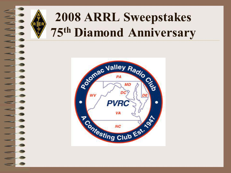 2008 ARRL Sweepstakes 75 th Diamond Anniversary