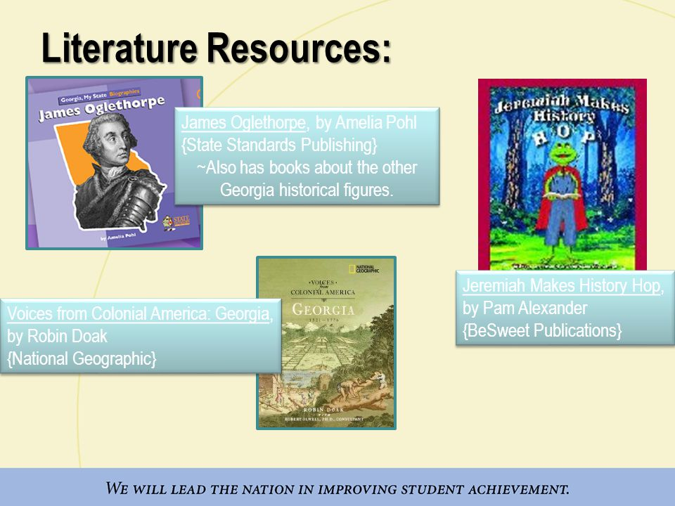 Literature Resources: James Oglethorpe, by Amelia Pohl {State Standards Publishing} ~Also has books about the other Georgia historical figures.